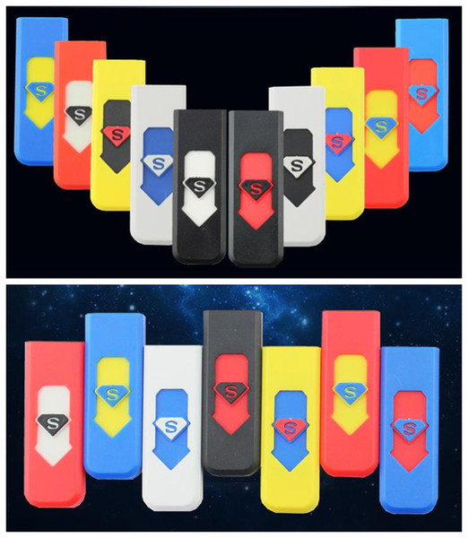 top popular Cigarette Lighters USB Rechargeable Battery Electronic Cigarettes Lighter Windproof Flameless No Gas Fuel ABS Flame Retardant Plastic 2021