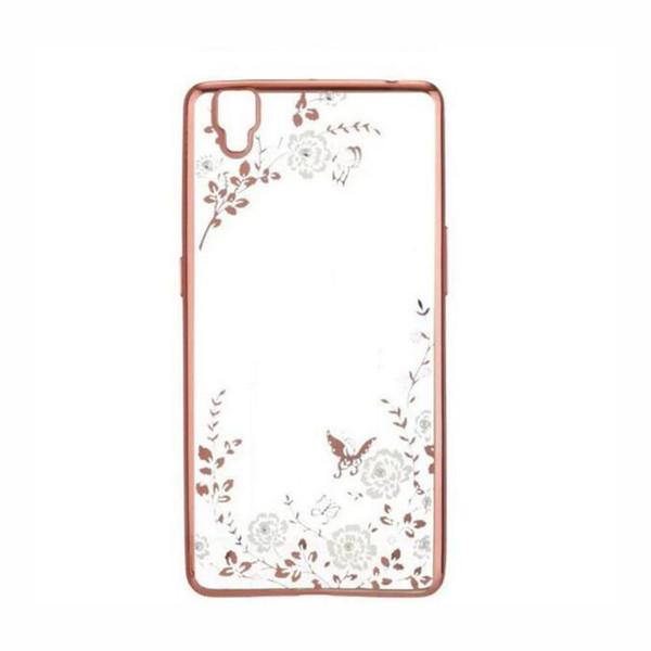 Secret Garden Flowers Rhinestone Phone Cases Rose Gold Plating TPU Back Case Cover For OPPO R15 R11 R9S