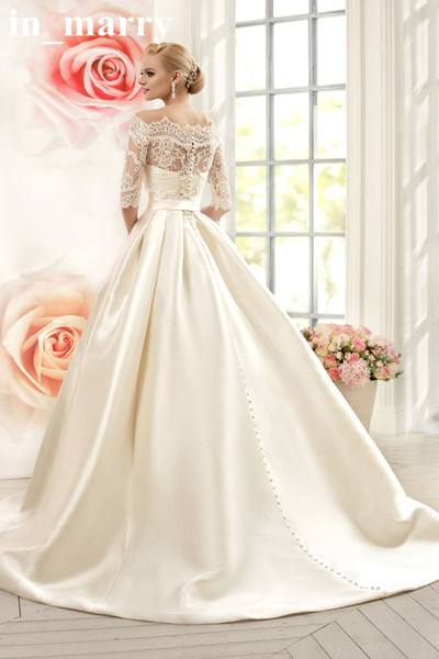 Discount 2016 Naviblue Wedding Dresses With Pockets Off
