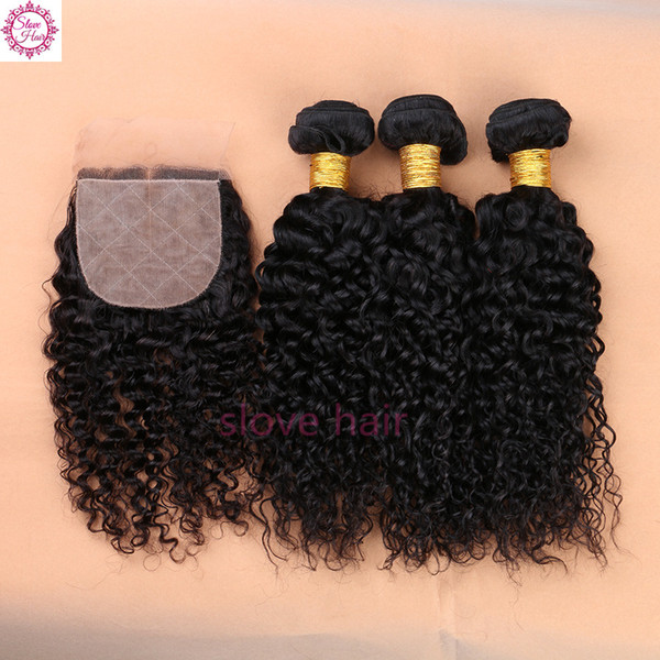 8A Brazilian Virgin Hair With Silk Base Closure,Deep Curly Silk Base Closure With 3 Bundles Virgin Human Hair With Silk Closures