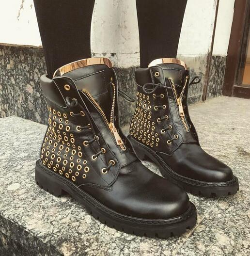 2017 fall winter new arrival black leather lace up short boots flat gold sequined gladiator riding Women Flats ankle boots free shipping