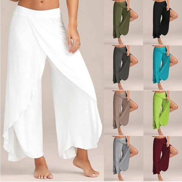 Cotton High Waist Women Wide Leg Pants Flowy Layered Split Palazzo Pants 2017 Summer Ladies Soft Casual Loose Trousers