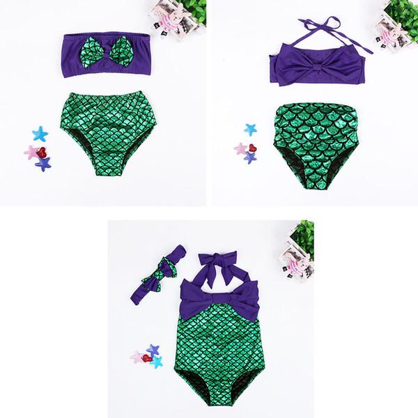 Traje de baño para niñas Cola de sirena Bikini Partes de abajo Escama de pescado Bowknot Traje de una pieza de dos piezas Vestido de bikini para niños Disfraz de niños LG-3