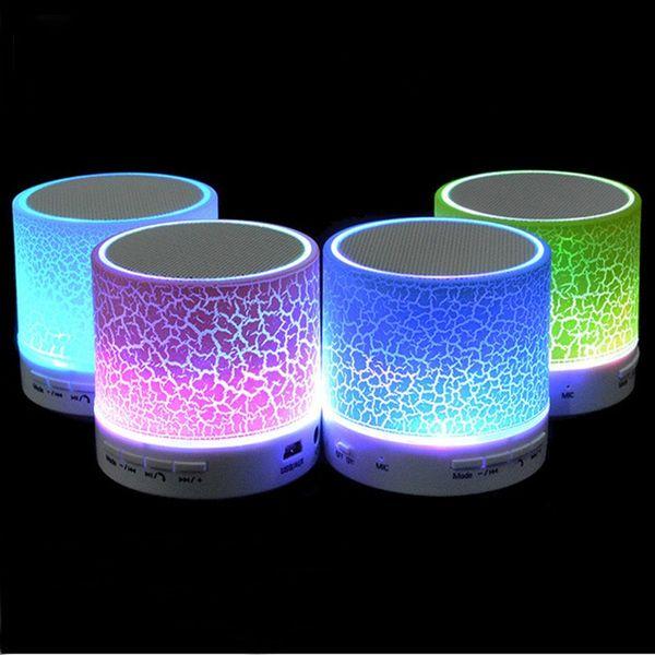Wholesale- Hot Portable LED Mini Wireless Bluetooth Speaker A9 LED Night Light TF USB FM Musical Audio Hand-free Loudspeakers For phone PC