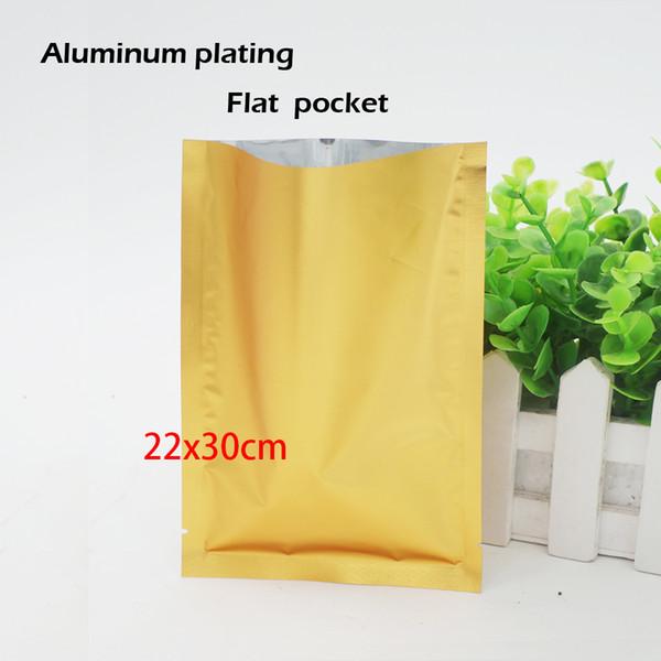 22*30cm Matte golden aluminum plating flat pocket Heat Seal Aluminum Foil Bag Food bag Cosmetics packaging Spot 100 /package