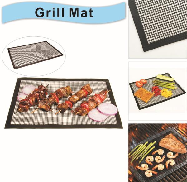 Griglie in silicone per grigliate Accessori per utensili da barbecue Cottura Bake Mat Liner riutilizzabile PTFE Antiaderente BBQ Grill Mats 16