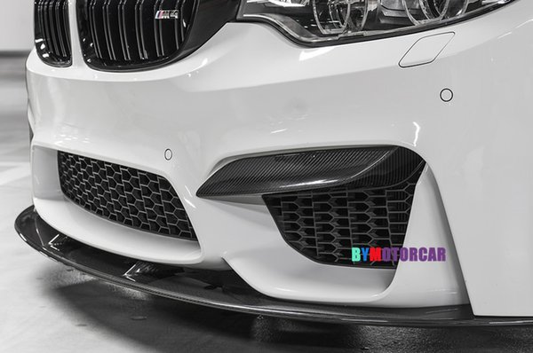 P Style Real Carbon fiber Front Bumper Inserts F80 M3 F82 F83 M4 Fit For BMW