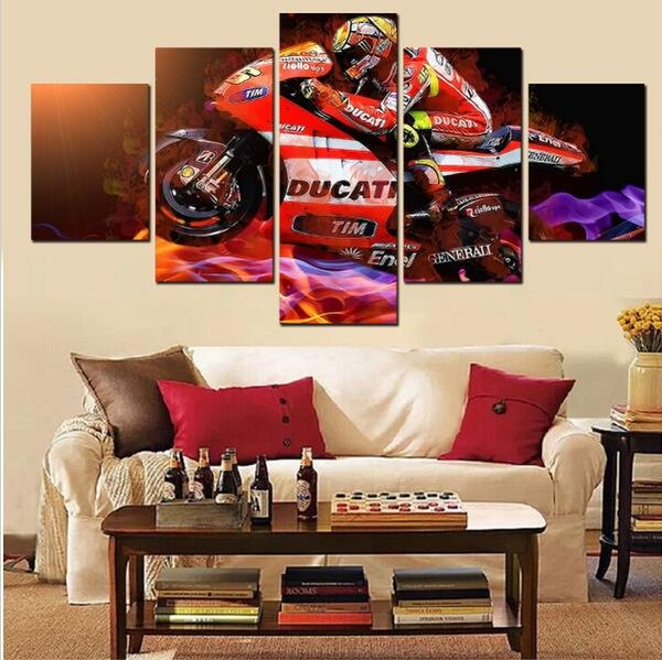 5 Piece canvas art New Race Car Driver Canvas Painting Home Decoration for home Living Room Print HD Canvas Painting