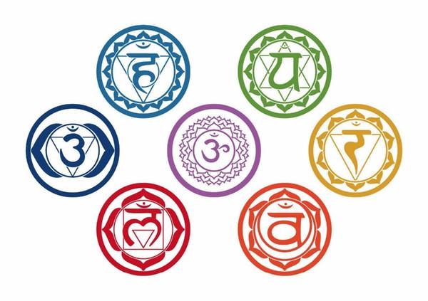 19X19CM 7pcs/set Chakras Vinyl Wall Stickers Mandala Yoga Om Meditation Symbol Wall Decals Home Decoration Yoga Colorful Murals