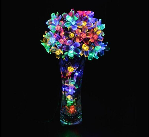 Solar String Lights Cherry Blossom, 50 LED Waterproof Outdoor Lighting for Indoor/Outdoor, Patio, Lawn, Garden, Christmas, and Holiday Festi