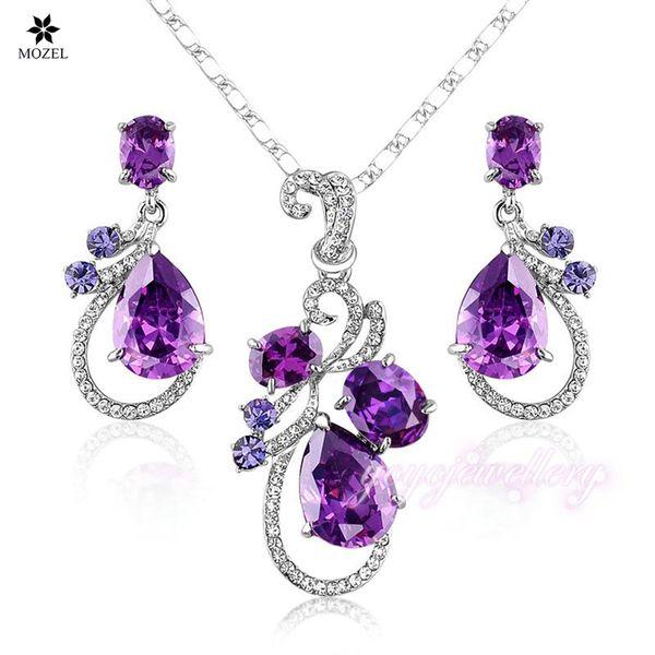 Wholesale MOZEL Swarovski Elements Lastest Issued Purple Cubic Zirconia Water Drop Earrings & Pendant Necklace Women Wedding Jewelry Sets