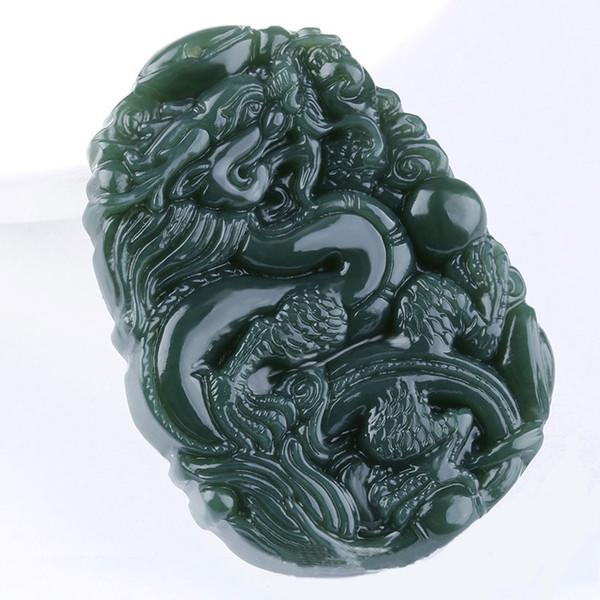 Envío gratis 100% natural HeTian Qingyu Colgante de dragón tallado a mano el zodiaco chino colgante de regalo de los hombres joyería de moda
