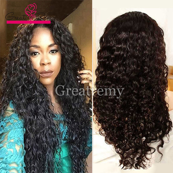 top popular Greatremy® 8A Malaysian Deep Curly Wave Human Hair Lace Front Wigs 10-24inch Full Lace Wig Natural Color Glueless Lace Wigs Retail 2019