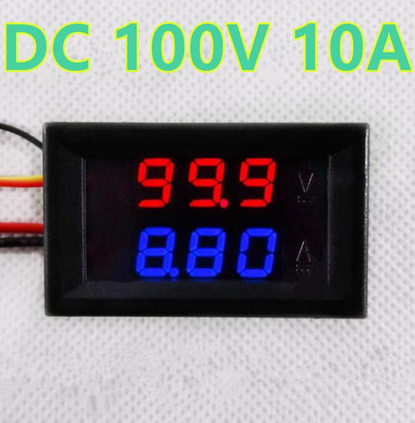 """0.28"""" Blue Red Dual LED Display Digital Panel Amp Volt Current Meter Tester Voltmeter AmmeterDC 100V 10A"""