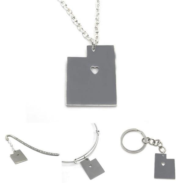 US State map necklace Utah island silver tone Utah necklace bangle keyring bookmark