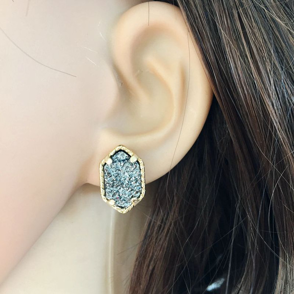 musiling Jewelry Carbon Stone Earrings Stud Geometric Earrings Golden Copper Charms Ear Accessories Jewelry For Women Gifts