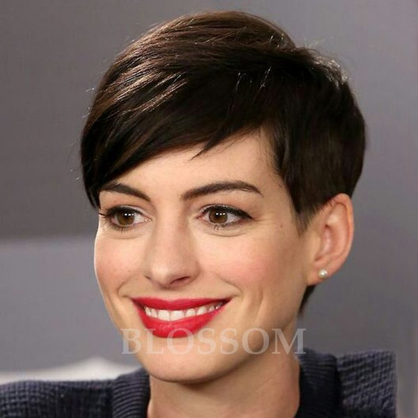 Celebrity wig Hair Natural Black Short Pixie Wigs Cheap human full none lace front Short Cut Wig For Black Women