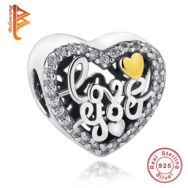 BELAWANG 100% подлинный стерлингового серебра 925 формы сердца Шарм бусины с CZ Fit Pandora бра