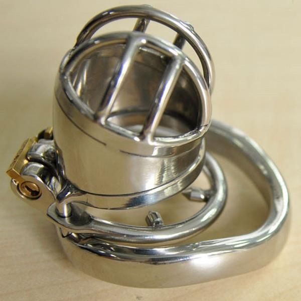 China Pequeño dispositivo de castidad masculina con anillo de espiga anti-apagado Acero inoxidable Gallo Pene Jaula Cinturón de castidad BDSM Juguetes sexuales para hombres