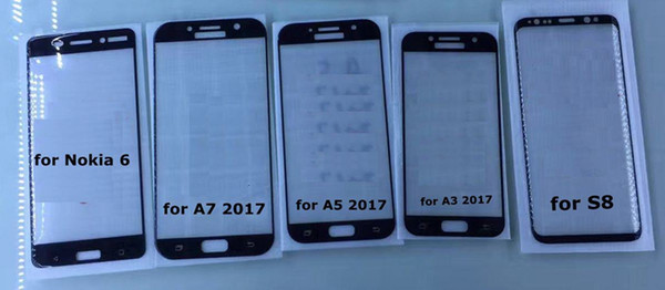 Ultra Thin 3D Curved Edge Full Cover Tempered Glass Film for Samsung Galaxy A7 A3 A5 2017 Note 5 S8 Plus + Cleaning Wipes Screen Protector