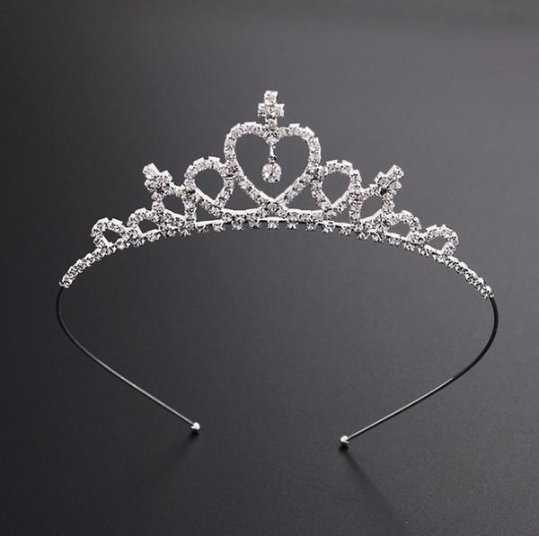 Niños Mujeres Niñas Horquilla Princesa Corona Plata Cristalino Aro de pelo Joyería Diamante Tiara Diadema Accesorios para el cabello