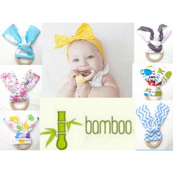 INS El Yapımı Bebek Dişlikleri 60 Renkler Ile Chevron Zigzag Doğal Ahşap Daire Tavşan Kulak Kumaş Yenidoğan Diş Uygulama Oyuncaklar Eğitim Yüzük