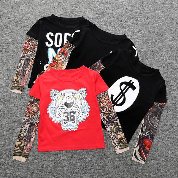 Tatuagem INS T-shirt Dos Miúdos Estilo Hip Hop Animal T camisas Dos Desenhos Animados Carta de Algodão de Manga Longa Tops Criança Verão Tees Crianças Camisetas IC879
