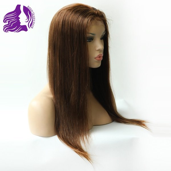 Dark Brown Lace Front Wig Silky Straight Glueless Front Lace Wigs Coffee Hair 8a Human Hair Wig Brazilian Malaysian Peruvian Indian UPS Free
