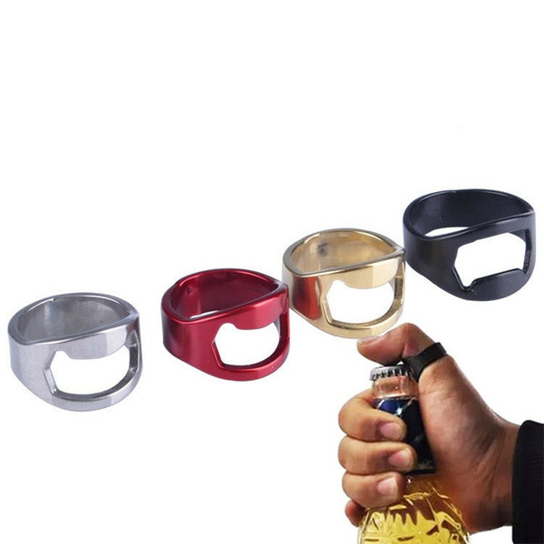 top popular New Portable Colorful Stainless Steel Beer Bar Tool Finger Ring Bottle Opener bottel favors free shiping 2019