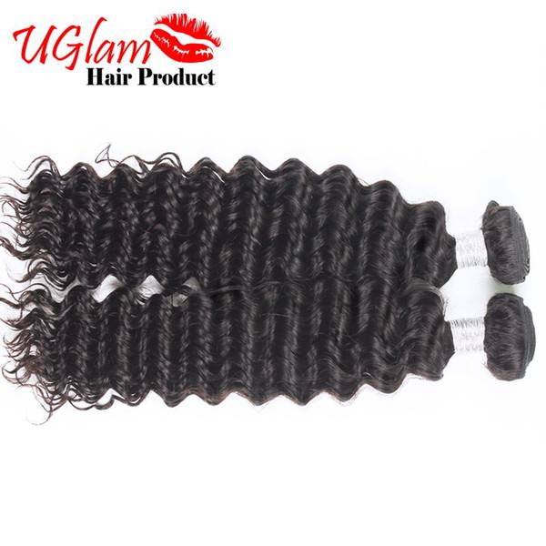 Malaysian Virgin Hair Deep Wave 2pcs Lot Human Hair Weaves Single Donor Uglam Hair Bundles Natural Color Sexy Style Free Shipping