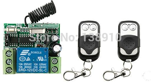 Wholesale-Funkfernsteuerungsschalter DC12v Mini Receiver 2 * Metalldruckknopf Sender Licht / Lampe / Fenster / Garagentore