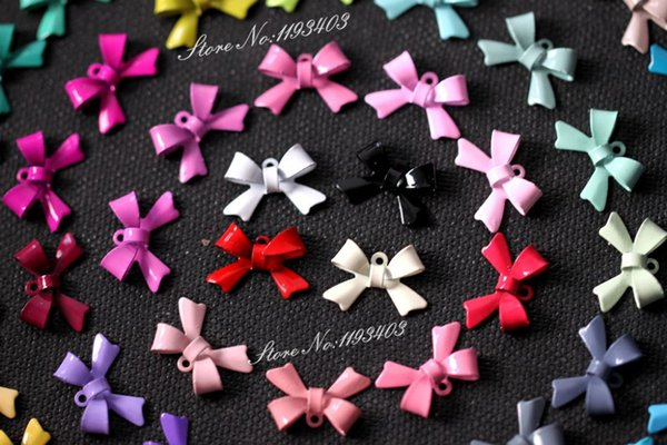 ashion Jewelry Charms 50colors 100PCS(50pairs) Bow Colored bowknot Charm Pendant Connector Jewelry DIY for earrings/Bracelet/Necklace -E-...