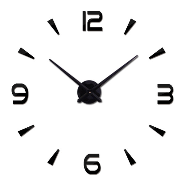 Wholesale-2016 New Vintage Wall Clock Modern Design Large Diy Acrylic Clocks Horloge Murale Quartz Watch 3d Stickers Brief Living Room