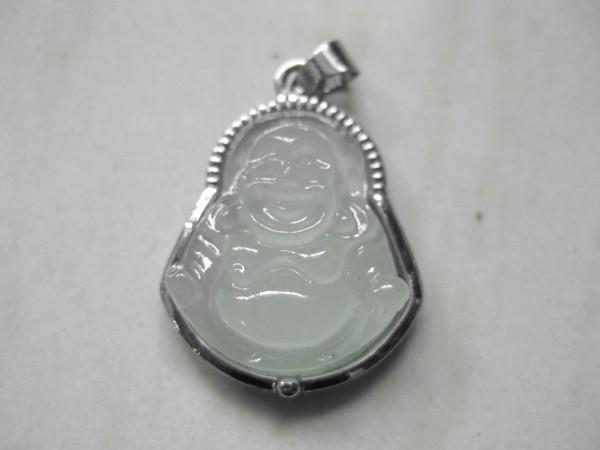 2017 New beautiful silver inlay White jade Maitreya Buddha pendants wholesale and retail