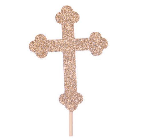 Glitter cross Baptism Cupcake Toppers - Christening wedding baby shower toothpicks birthday food pick decorations Party Supplies Event