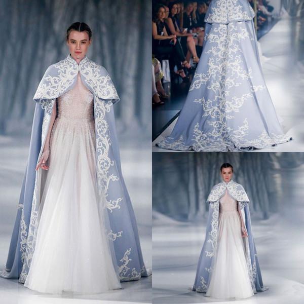 Paolo Sebastian 2017 Wedding Jacket Wrap For Bride High Neck Wedding Cape Embroidery Satin Cloak Jacket Bridal Bolero Shrug Dubai Abaya