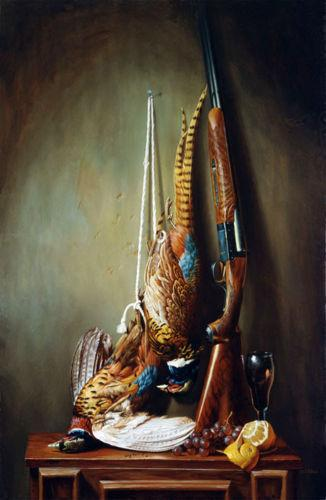 still Death Golden pheasant with shotgun fruits,Hand painted Still Life Art Oil Painting Thick Canvas,Multi sizes available Sl003