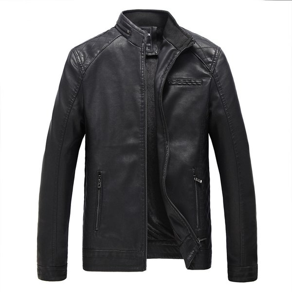 Wholesale- New Leather Jacket Men Fashion Brand Fleece Lined Thick Warm Suede Motorcycle Casual Outerwear Coats Winter Faux Leather Coat