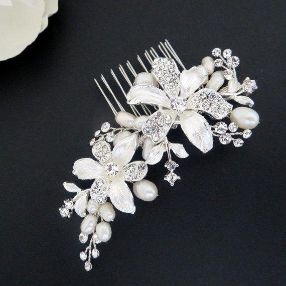 El yapımı saç aksesuarları gelin rhinestone enemal çiçekler saç tarak tatlısu inci saç takı toptan düğün aksesuarları