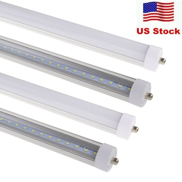 T8 FA8 Single Pin LED Tube Lights 8FT 40W 3500Lm SMD 2835 2400MM 8feet LED Fluorescent Tube Lighting Lamps 85-265V Stock at USA
