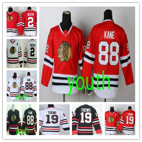 Fashion Youth Chicago #88 Patrick Kane #19 Jonathan Toews #2 Duncan Keith Green Black Red White Kids Blackhawks Hockey Boys Stitched Jerseys