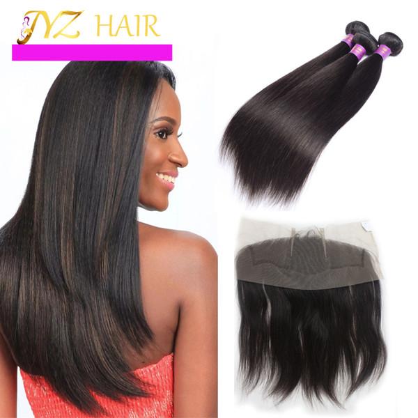JYZ Peruvian Virgin Hair Straight With Closure 13x4 Lace Frontal Closure With Bundles 3 pcs Human Hair Bundles With Frontal Closure