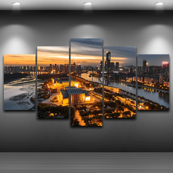 5 Pcs/Set Modern City Night Spray Oil Painting Decoration Framed wall art picture Artistic Printed Drawing on Canvas Printed Home Decor