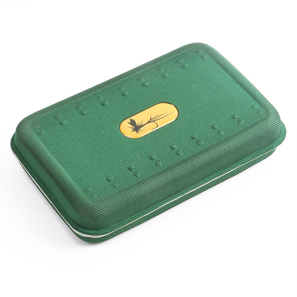 Light Buoyant EVA Foam Fly Fishing Box 146x94x32mm Green Fly Bait Lures Trout Storage Fishing Tackle Box Double Sides (No Flies)