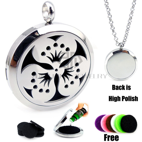 New Round Silver Peach blossom (30mm) Aromatherapy / Essential Oils Diffuser Locket Pendant Necklace with Colorful Pads and Chain