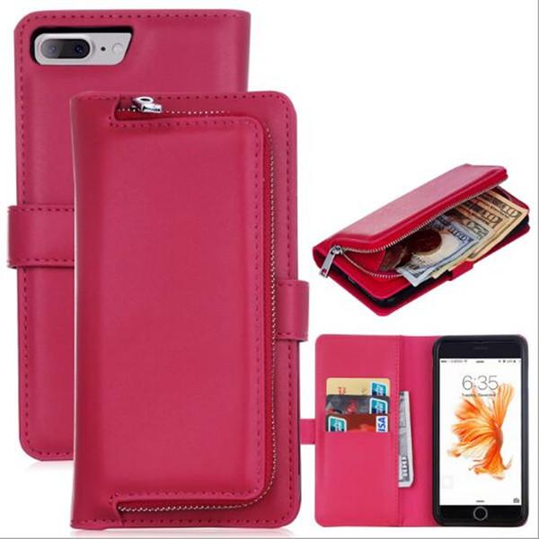 caja del teléfono billetera de lujo para iphone7 iphone 7 6 6s más galaxy s5 s7 funda de cuero bolso cremallera caso 5 color DHL libre GSZ288