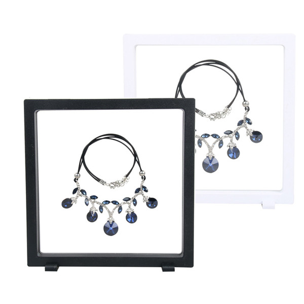 18*18cm Black white Suspended Floating Display Case Jewellery Coins Gems Artefacts Stand Holder Box