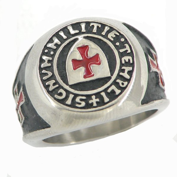 Aço inoxidável mens wemens jóias grátis masonary escudo cavaleiros templar esmalte vermelho Cruz dom maçônica anel para irmão irmãs