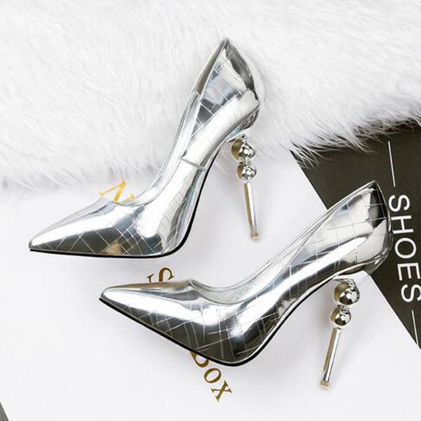 I nuovi tacchi a spillo sexy dello specchio del metallo fanno festa le scarpe per le scarpe di punta delle scarpe da sposa di modo di estate di colori 5 delle signore che spediscono il trasporto libero