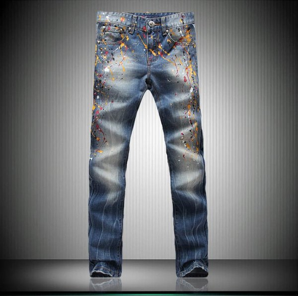 Hot Sale Color Painted Denim Men Jeans Classic Retro Trend Trousers Special Printing Classic Dating Club Stage Famous Brand Jeans Pants